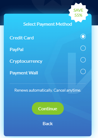 choose payment method windscribe