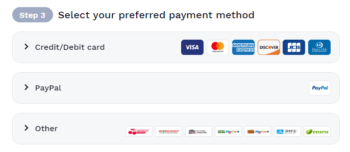 select payment method hotspot shield