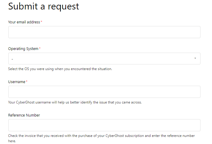 submit refund request cyberghost