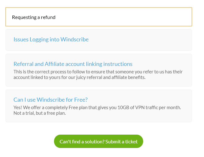 windscribe submit a refund